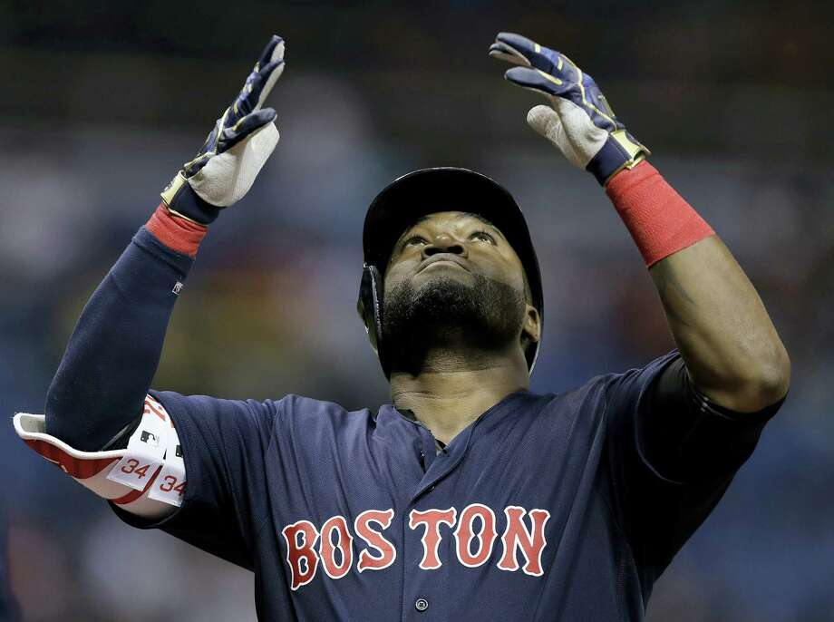 David Ortiz reacts after his two-run home run in the first inning on Friday. Photo: Chris O'Meara — The Associated Press  / Copyright 2016 The Associated Press. All rights reserved.