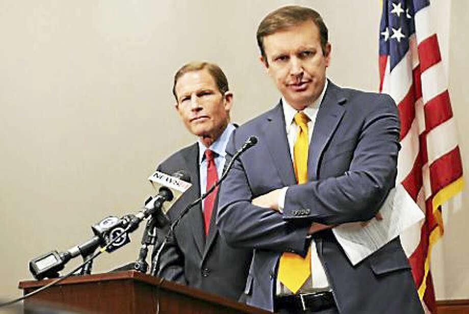 (Christine Stuart - CT News Junkie) U.S. Sen. Chris Murphy, front, and Richard Blumenthal Photo: Journal Register Co.