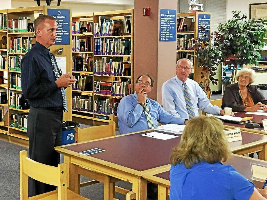 Robert Travaglini, the receiver currently tasked with running the Winchester public schools, addresses the Gilbert School Corp. board Wednesday evening in Winsted. Photo: Ben Lambert – The Register Citizen