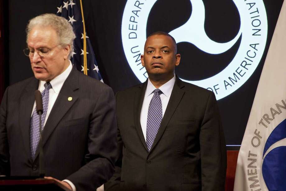 Transportation Secretary Anthony Foxx, right, listens as NHTSA Administrator Mark Rosekind speaks about the Takata Corp. air bag inflator recall during a news conference at the Transportation Department in Washington on May 19, 2015. Photo: AP Photo/Jacquelyn Martin  / AP