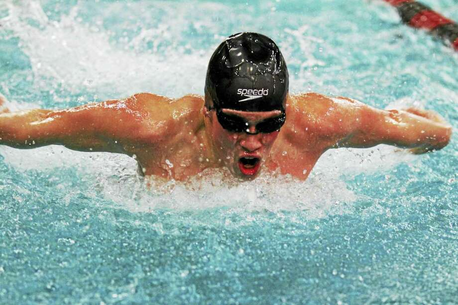 Torrington's J.T. Barth broke through for an individual win against Seymour in the 200-yard IM Wednesday at the Torrington YMCA. Photo: Marianne Killackey - For The Register Citizen  / 2015