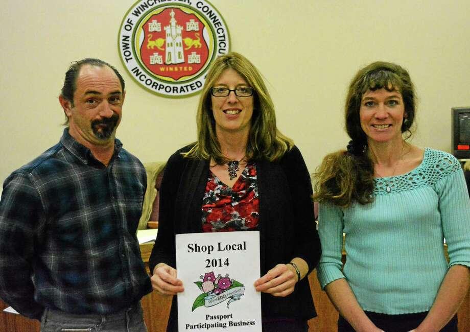 The three Passport Contest winners, from left, Kurt Timmeney, Amy Gifford-Knapp and Carol LaPointe. Photo: Ryan Flynn — Register Citizen