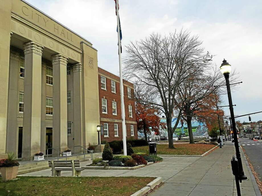 A streetlight, in front of the City Hall in Torrington. Photo: Register Citizen File Photo