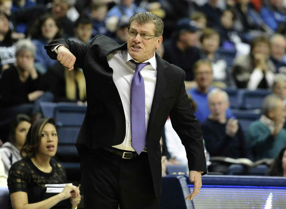 UConn coach Geno Auriemma reacts during the second half of the second-ranked Huskies' 92-50 win over South Florida on Sunday in Storrs. Photo: Jessica Hill — The Associated Press  / AP2015