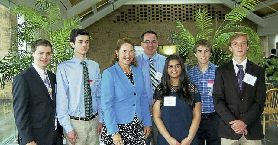 Contributed photoRegion 15 students Drew Englander, Andrew Baggett, Ritika Bajaj, Kevin Knowles, and Mason Fitzpatrick pictured with Congresswoman Elizabeth Esty and teacher Brian Jehning (3rd and 4th from left respectively) at the IBM Complex in Southbury. Photo: Journal Register Co.