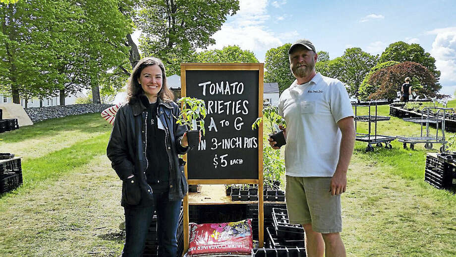 Margret Deves-Broughton and Rob Storm of White Flower Farm at 167 Litchfield Road in Morris assisted customers with their purchases and gardening questions. Photo: N.F. Ambery Photo