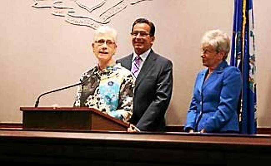 Terry Edelstein with Gov. Dannel P. Malloy and Lt. Gov. Wyman three years ago accepting the position. Photo: CTNewsJunkie File Photo