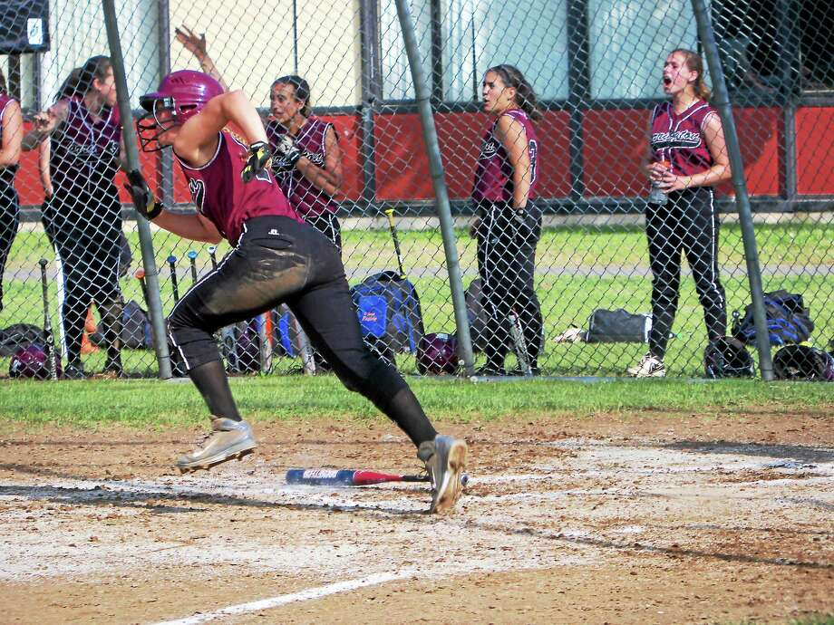 Torrington's Brittany Anderson watches a home run against Watertown Tuesday afternoon. Photo: Peter Wallace — Register Citizen