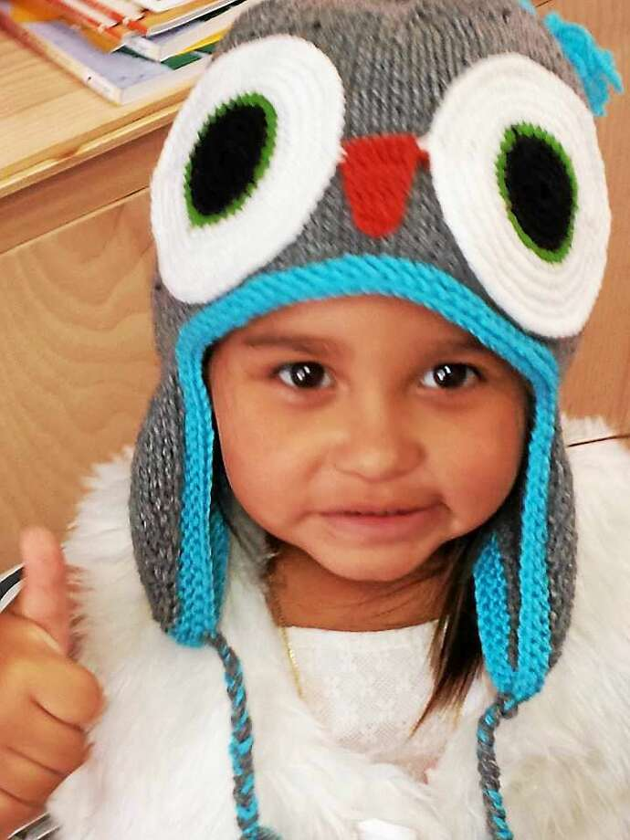 Contributed photo Ginger Balch's granddaughter, Ariana, gives her new hat a thumbs up. Photo: Journal Register Co.
