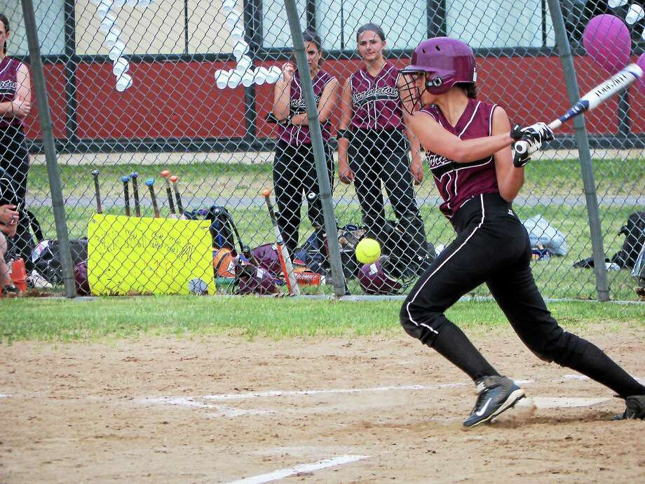 CC Carbone belted a triple for Torrington Monday afternoon against Naugatuck. Photo: Peter Wallace — Register Citizen
