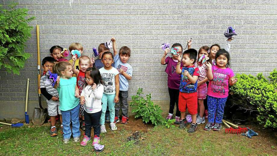 Students at Head Start-Forest Court stand around a newly planted rose bush in honor of the program's 50 year anniversary. Photo: Amanda Webster — The Register Citizen