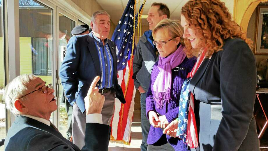 World War II veteran Nick Samal was honored Saturday in Torrington after U.S. Rep. Elizabeth Esty helped secure replacements of his medals from the VA. Photo: N.F. Ambery — Special To The Register Citizen