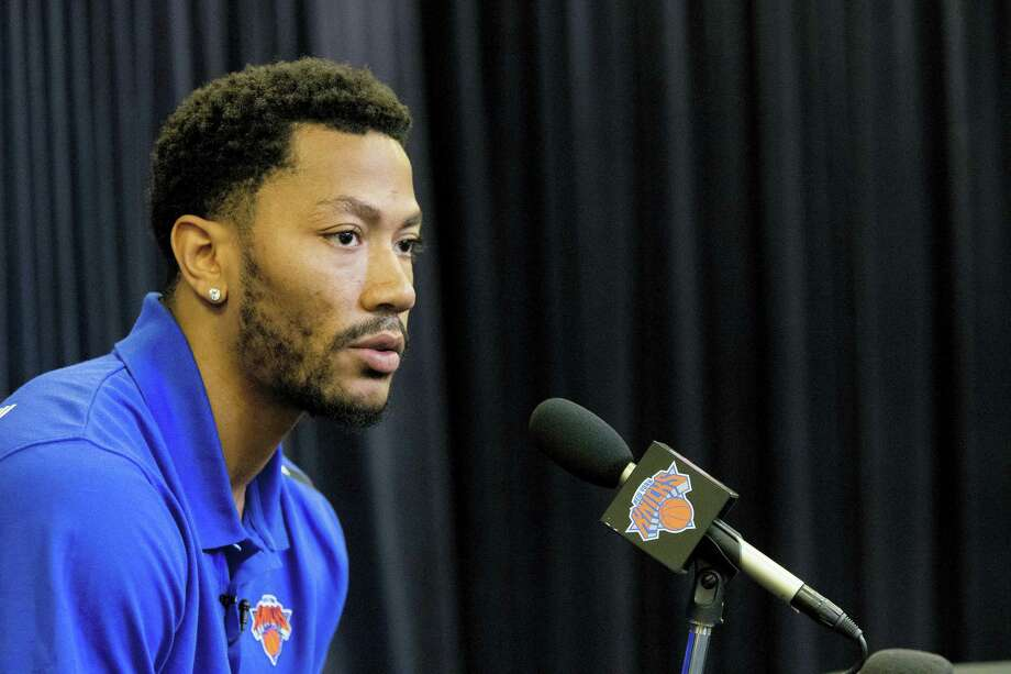 In this June 24, 2016 photo, Derrick Rose speaks during a news conference for the New York Knicks to announce they acquired him from the Chicago Bulls at Madison Square Garden in New York. A Los Angeles federal judge ruled Sept. 20, 2016 that a woman accusing NBA star Rose of rape cannot remain anonymous at her upcoming civil trial. Photo: AP Photo/Mary Altaffer, File  / Copyright 2016 The Associated Press. All rights reserved.