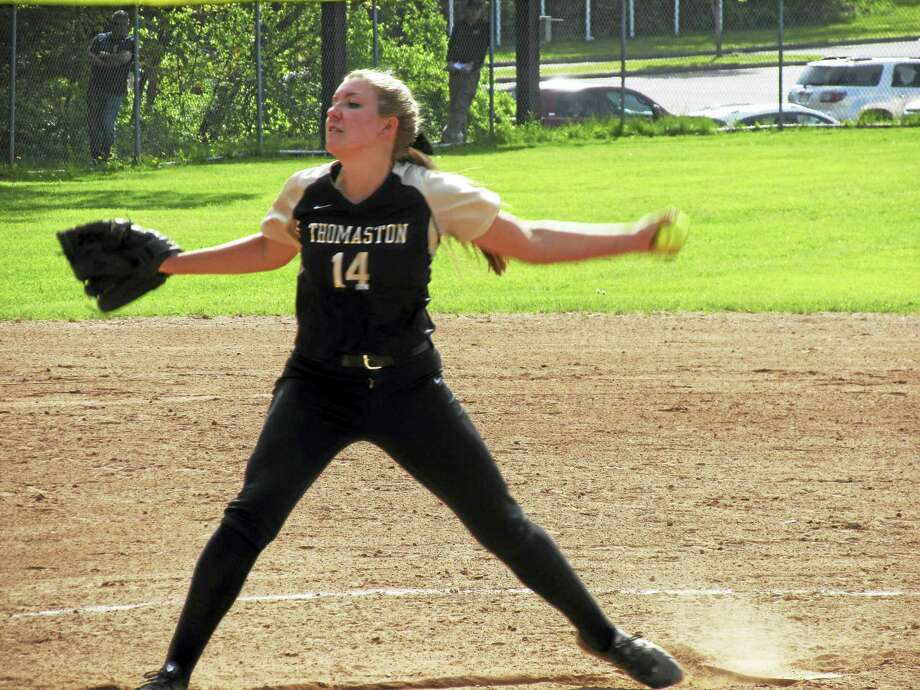 Thomaston pitcher Morgan Sanson had her best stuff when she needed it in a win over Nonnewaug that clinched at least a share of the Berkshire League Championship Friday at Thomaston High School. Photo: Photo By Peter Wallace