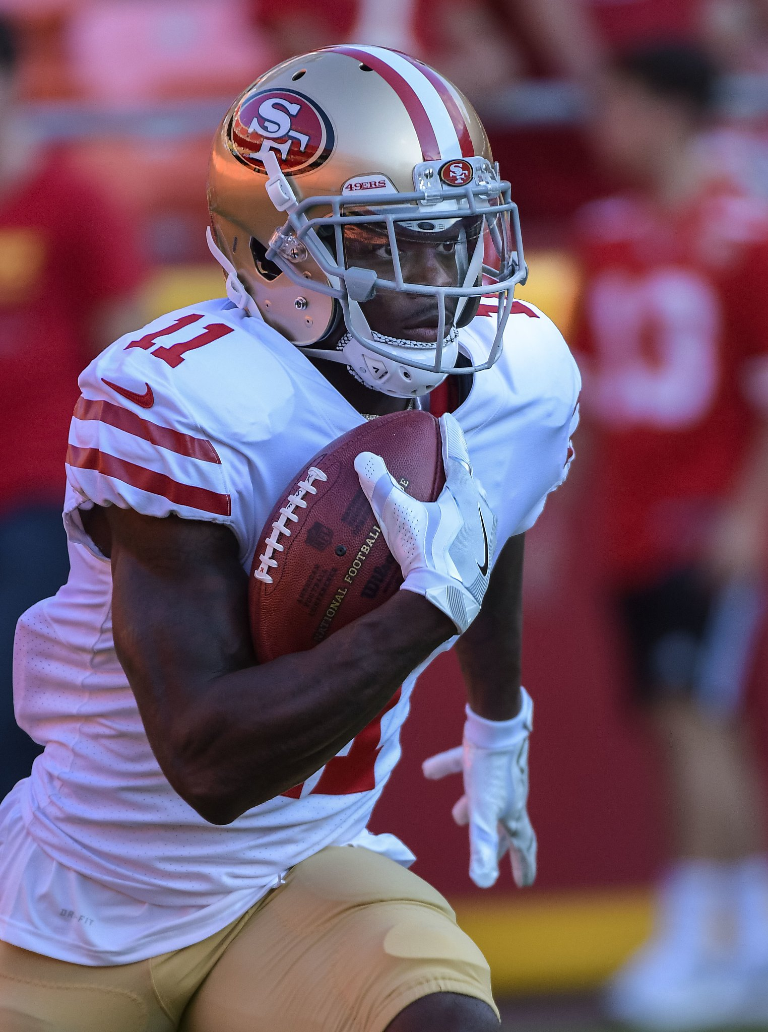 f69ea0ca916 Marquise Goodwin (11) of the San  49ers WR Marquise Goodwin played hours  after family tragedy  49ers speedy Goodwin shows hes more than a wide  receiver - S ...