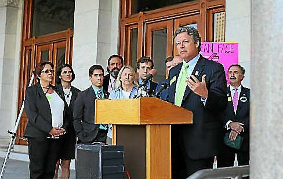 State Sen. Ted Kennedy Jr. speaks as Democrats held a Capitol press conference last April to proclaim support for legislation to phase out use of plastic bags. Photo: (CT News Junkie File Photo)
