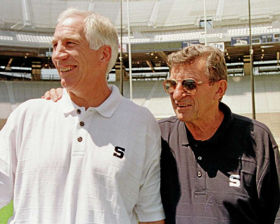 In this Aug. 6, 1999, file photo, Penn State head football coach Joe Paterno, right, poses with his defensive coordinator Jerry Sandusky. Photo: The Associated Press File Photo  / AP