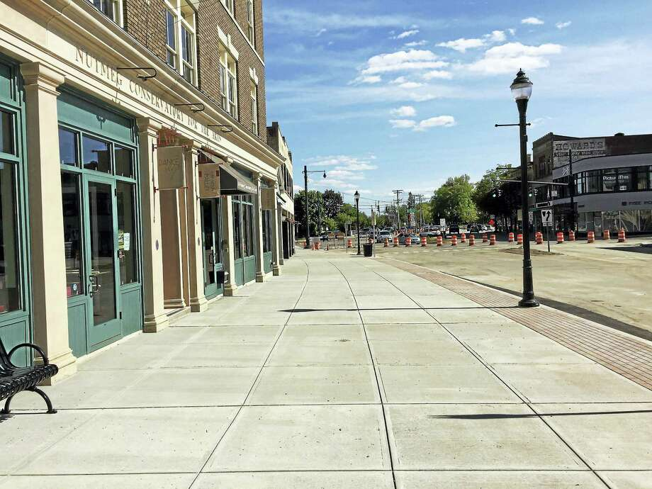 PHOTO BY BEN LAMBERTThe newly-reconstructed sidewalks of downtown Torrington, as seen Friday. Photo: Journal Register Co.