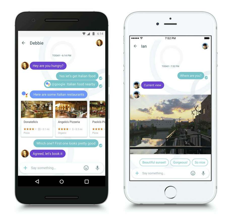 This photo combo of images provided by Google demonstrates the use of the company's new Allo app. Google wants to modernize phone chats by bringing a personal virtual assistant to conversations. Photo: Google Via AP  / Google