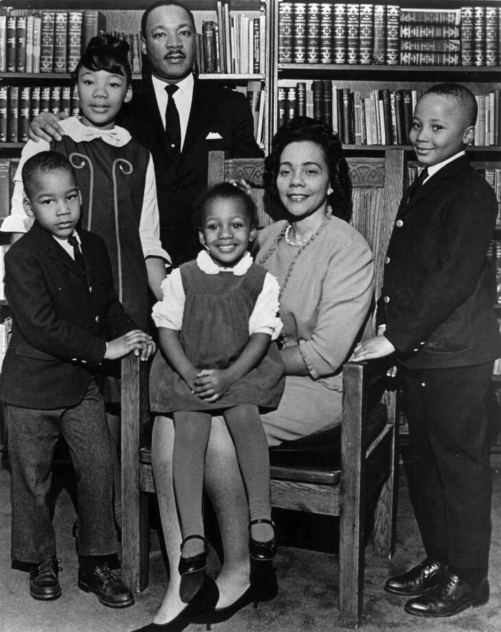 This 1966 photo is the last official portrait taken of the entire King family, made in the study of Ebenezer Baptist Church in Atlanta. From left are Dexter King, Yolanda King, Martin Luther King Jr., Bernice King, Coretta Scott King and Martin Luther King III. Photo: The Associated Press — Atlanta Journal-Constitution  / Atlanta Journal Constitution