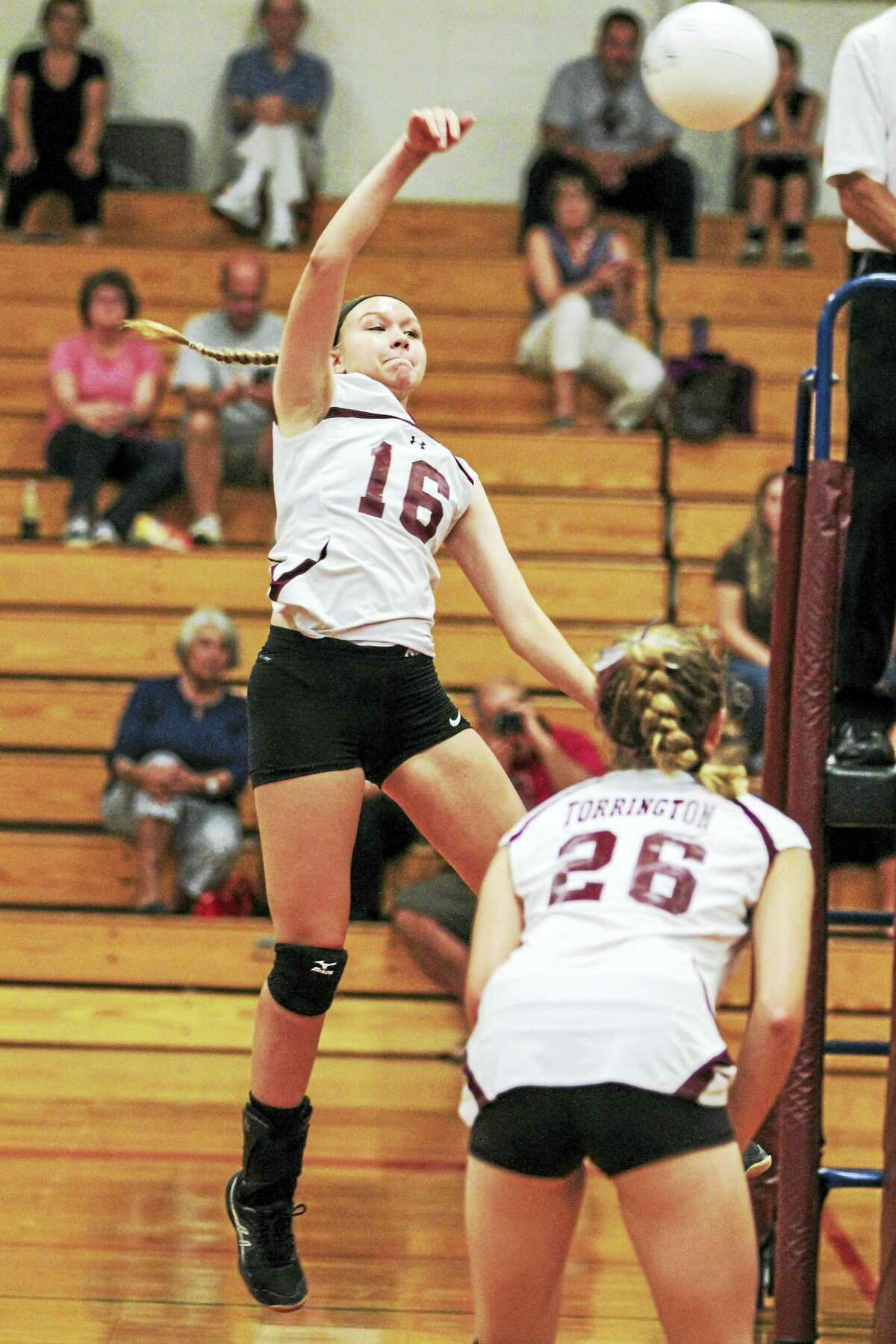Photo by Marianne Killackey Junior Lauren Gaghan was one of Torrington's big hitters in a win over St. Paul Catholic Tuesday at Torrington High School.