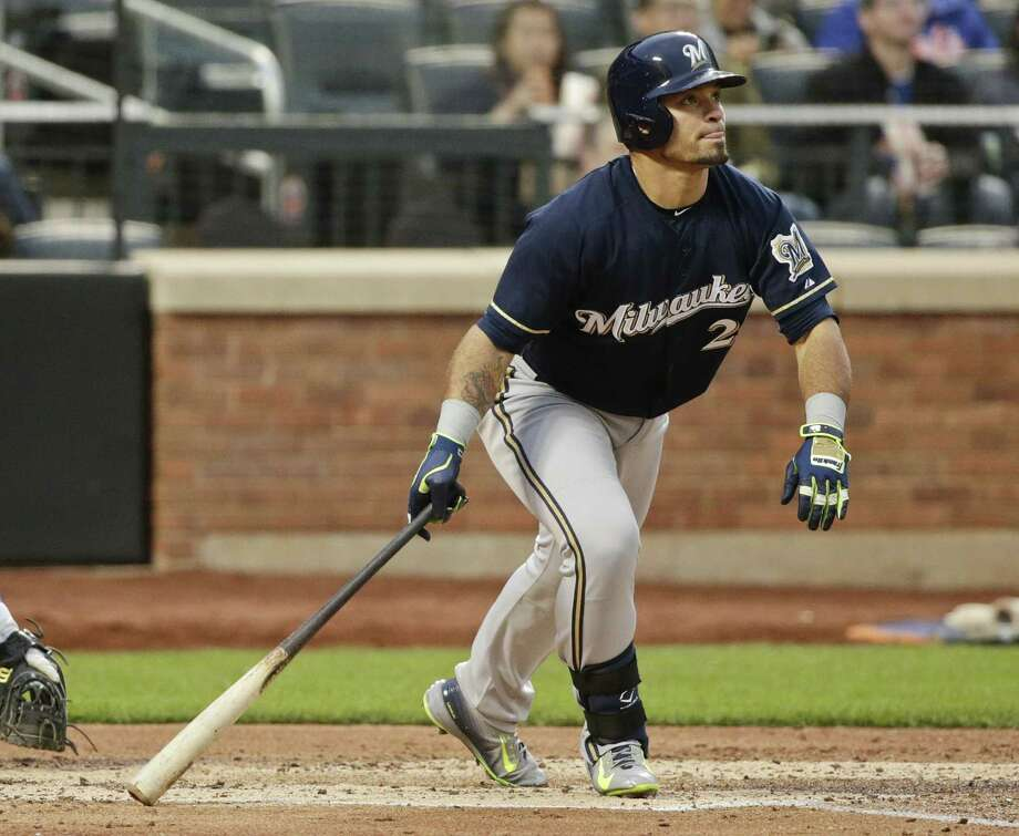 Milwaukee Brewers' Gerardo Parra watches his RBI double during the third inning of a baseball game against the New York Mets on Friday, May 15, 2015, in New York. (AP Photo/Frank Franklin II) Photo: The Associated Press  / AP