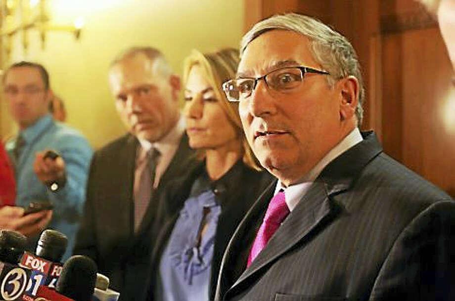 Senate Minority Leader Len Fasano outside Gov. Dannel P. Malloy's office last December. Photo: Christine Stuart — Ctnewsjunkie.com File Photo