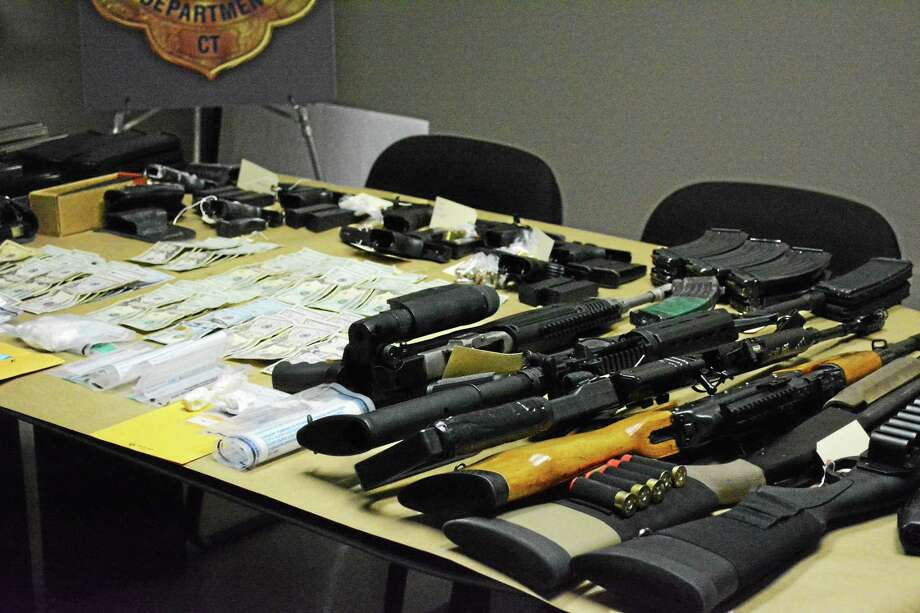 Some of the items seized by police on Wednesday in Torrington. Photo: Amanda Webster — The Register Citizen