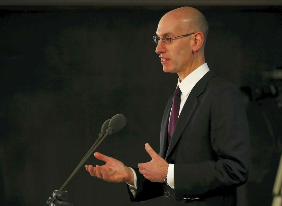 Commissioner of the NBA Adam Silver speaks to the media before Thursday's game between the Orlando Magic and Toronto Raptors in London on Thursday. Photo: Alastair Grant — The Associated Press  / AP