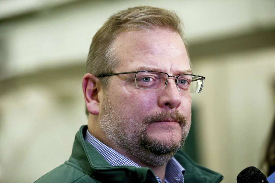 Jets GM Mike Maccagnan speaks to reporters at the team's training center on Thursday in Florham Park, N.J. Photo: Julio Cortez — The Associated Press  / AP