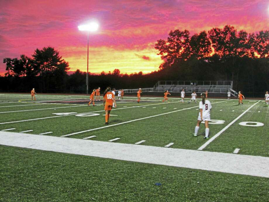 Photo by Peter Wallace While Watertown dominated on the field Monday at the Robert H. Frost Sports Complex, Torrington's sunset threatened to steal the show. Photo: Journal Register Co.
