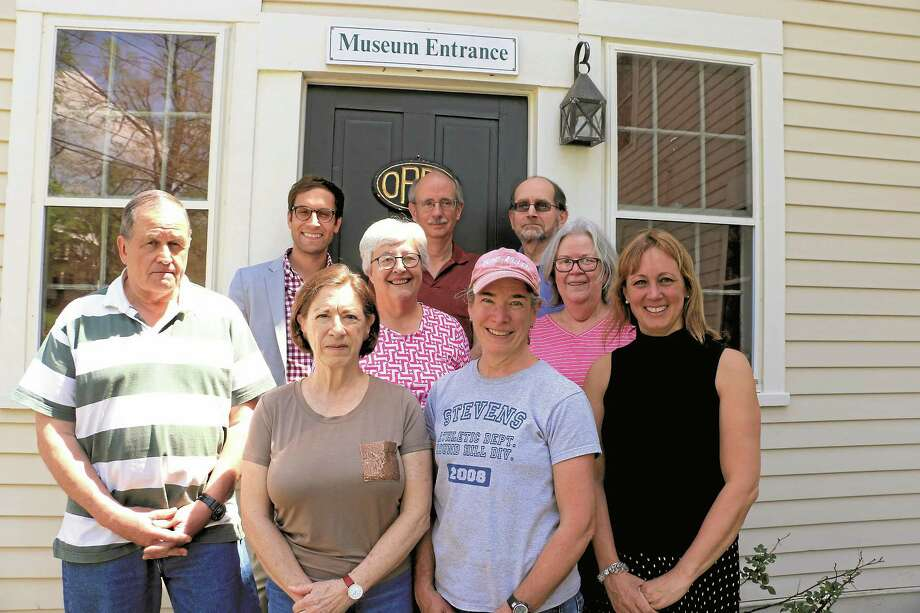 Gunn Museum staff and some of its volunteers. In front, at far right, is newly appointed director Louise van Tartwijk. Next to her is Denise Arturi, a member of the museum council. In rear, at far left is curator Stephen Bartkus. Photo: John Fitts — The Register Citizen