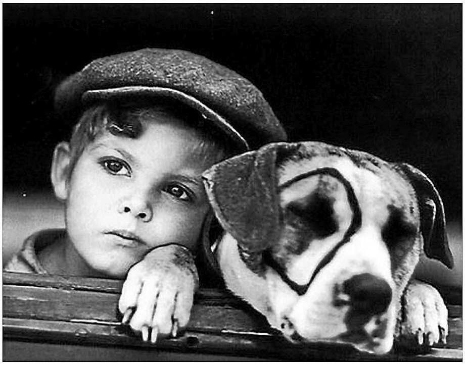 """Dickie Moore with Pete the dog in a scene from """"Little Rascals."""" Photo: Journal Register Co."""