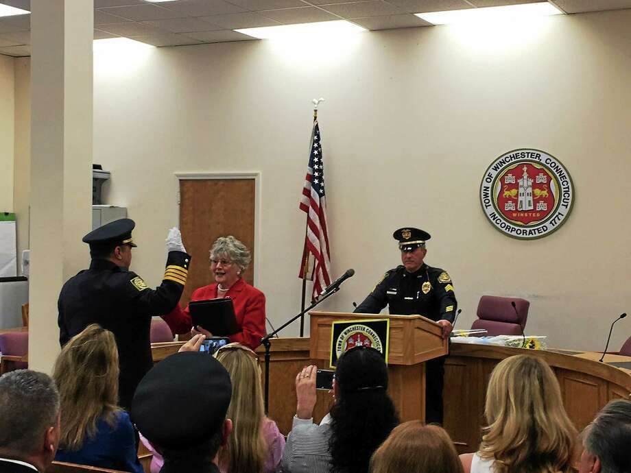 William Fitzgerald, a former lieutenant with the Newport, R.I., police department was sworn in as the new chief of the Winchester Police Department Thursday. Photo: BEN LAMBERT — The Register Citizen