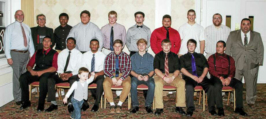 Photo by Marianne KillackeyTorrington High School's football team celebrated its best season since 1987 Sunday. Seniors and future lineman Parker Therriault include Front row (left to right): Alfred Ortega, Ignacio Reynoso, Newton Frias, Zak Mancini, Tyler Marens, Erik Mayerjak, Josh Dennis, Keanu Mendiola. Back Row (left to right): Coach Don Whitley, Coach Bob Reynolds, Stephen Jones, Kobe Covington, Connor Finn, Nick Paniati, Stefan LaForge, Nate Bresson, Coach Andy Therriault, Head Coach Gaitan Rodriguez Photo: Journal Register Co. / 2015