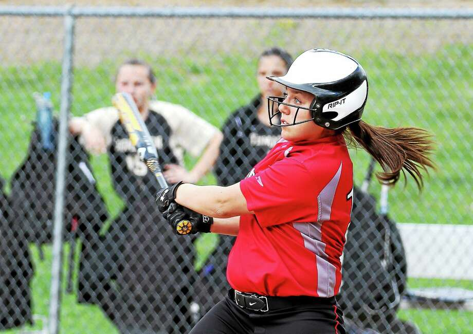 Photo courtesy of Marianne Killackey Gina Weingart of Northwestern connects for an RBI double in her teamís loss to Thomaston Wednesday afternoon. Photo: Journal Register Co. / 2014