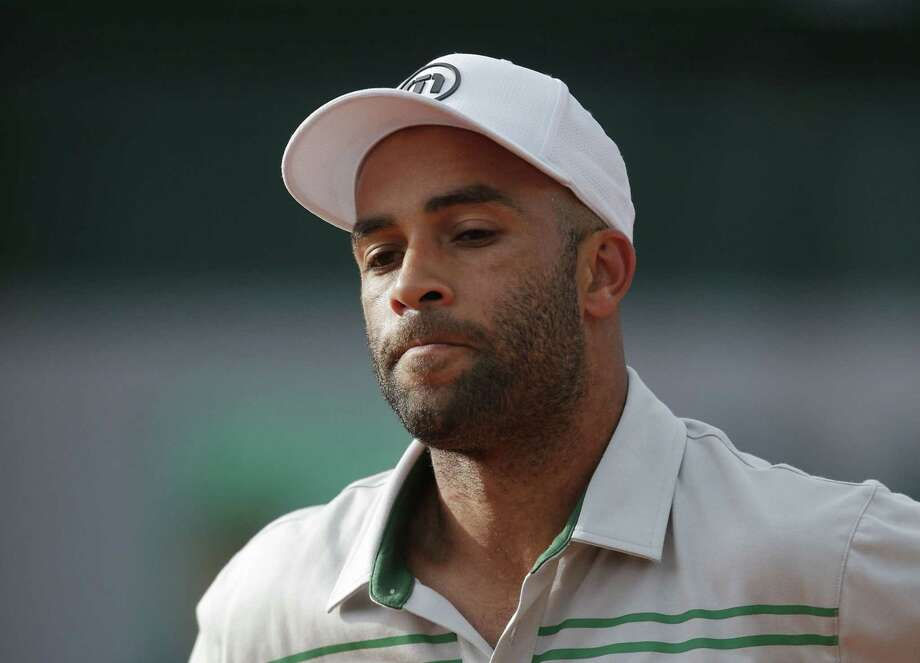 In this May 26, 2013 photo, James Blake grimaces after missing a return against Serbia's Viktor Troicki at the French Open tennis tournament in Paris. Photo: AP Photo/Michel Spingler, File  / AP
