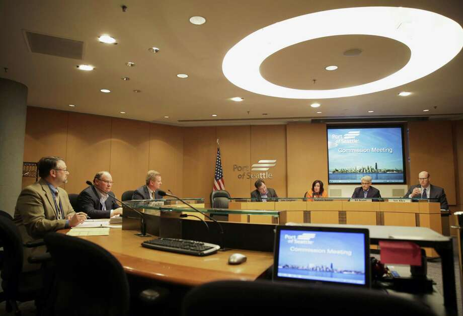 Port of Seattle commissioners listen to testimony during a meeting to address the status of a Port lease with Foss Maritime, Tuesday, May 12, 2015, in Seattle. Seattle Mayor Ed Murray has urged the port to reconsider its two-year, $13 million lease with Foss Maritime, a company whose client is Shell. Photo: (AP Photo/Ted S. Warren) / AP