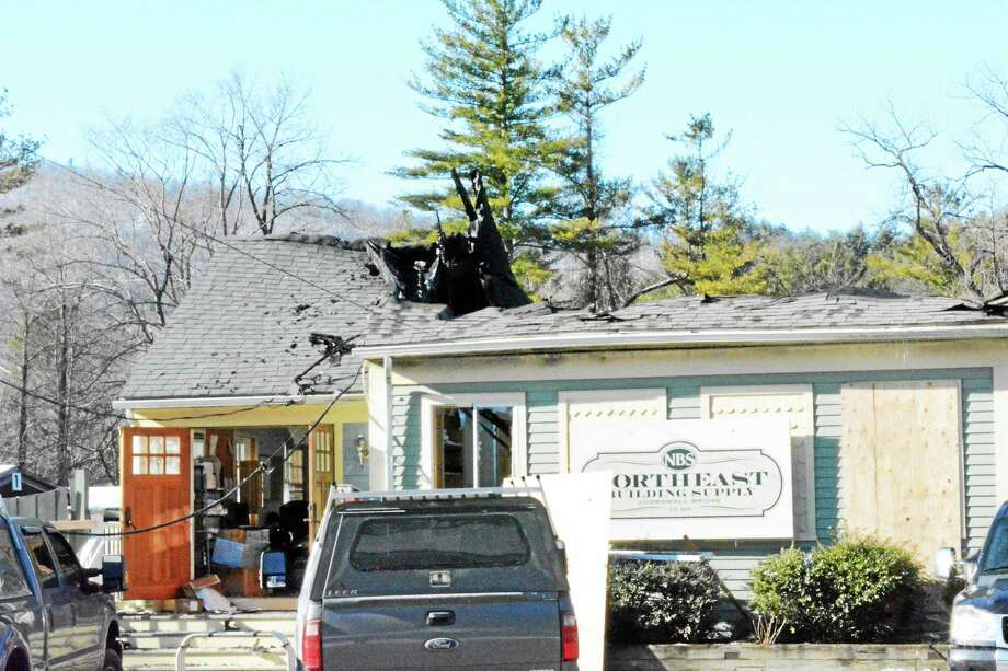 Northeast Building Supply on Kent Road in Cornwall suffered severe damage from a Tuesday fire. Photo: Kaitlin McCallum — Register Citizen