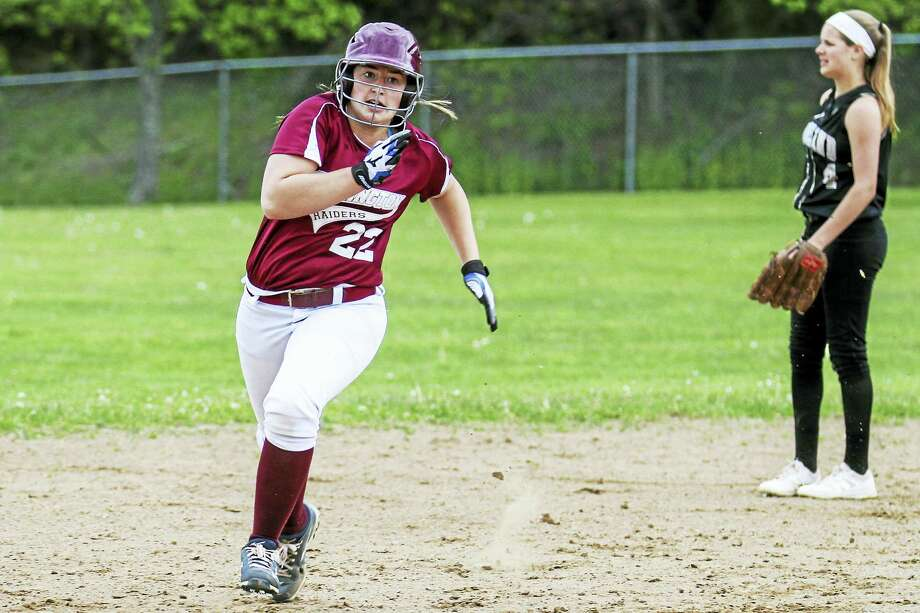 Torrington's Ali Dubois more than made up for a slightly off day on the mound with a huge day at bat in a wild Red Raider win over Woodland Tuesday afternoon. Photo: Photo By Marianne Killackey  / 2015
