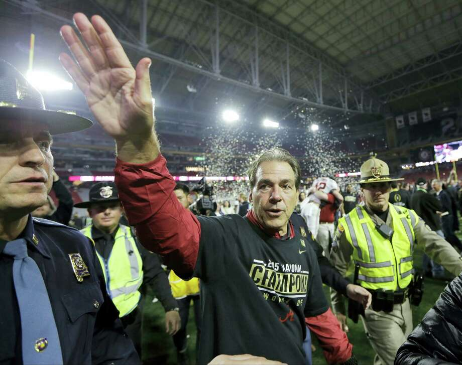 Alabama head coach Nick Saban waves to fans after the NCAA college football playoff championship game against Clemson Monday, Jan. 11, 2016, in Glendale, Ariz. Alabama won 45-40. (AP Photo/David J. Phillip) Photo: AP / AP