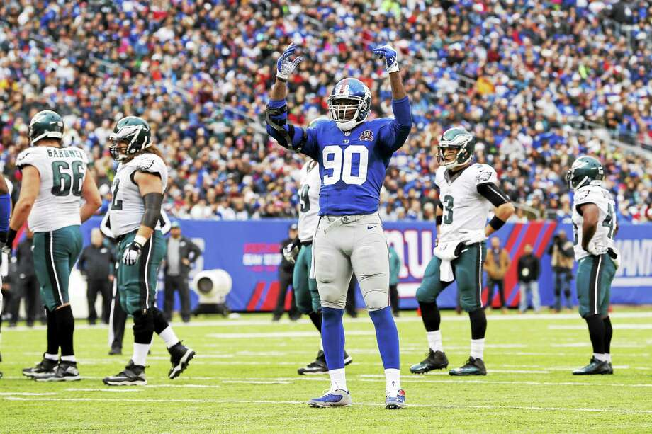 New York Giants defensive end Jason Pierre-Paul is back home. Photo: Julio Cortez — The Associated Press File Photo  / AP