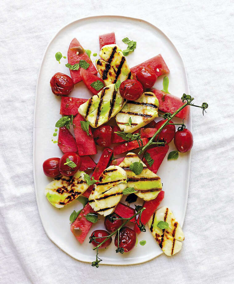 Grilled halloumi with watermelon and basil-mint oil. Photo: Photo Courtesy Of Peden + Monk
