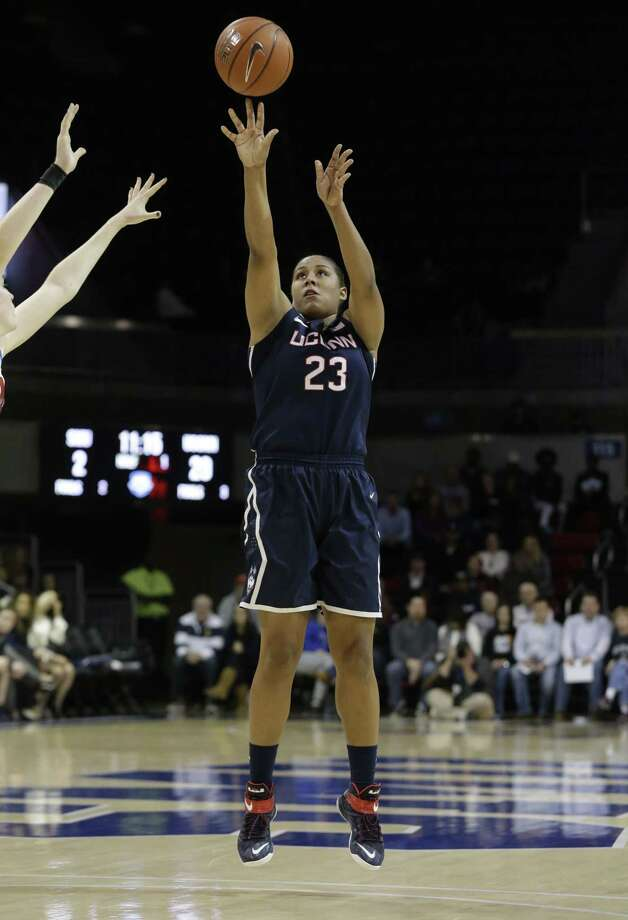 UConn's Kaleena Mosqueda-Lewis broke Diana Taurasi's career record for 3-pointers in Sunday's win over SMU. Photo: LM Otero — The Associated Press  / AP