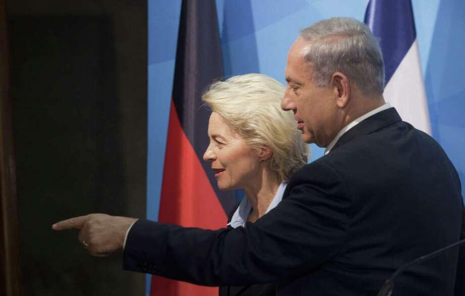 Israeli Prime Minister Benjamin Netanyahu, right, and German Minister of Defense Ursula von der Leyen, speak during their meeting, in Jerusalem on May 12. Photo: AP Photo  / AP