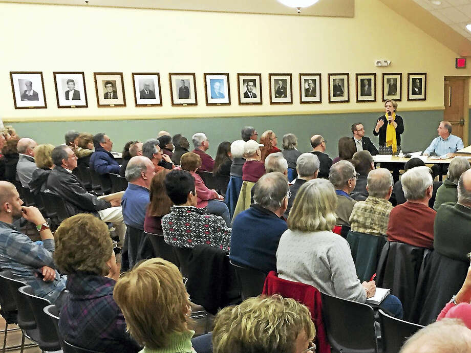 Torrington residents came out to share their thoughts and concerns regarding the newly-approved streetlight master plan for the city Tuesday evening. Photo: BEN LAMBERT — The Register Citizen