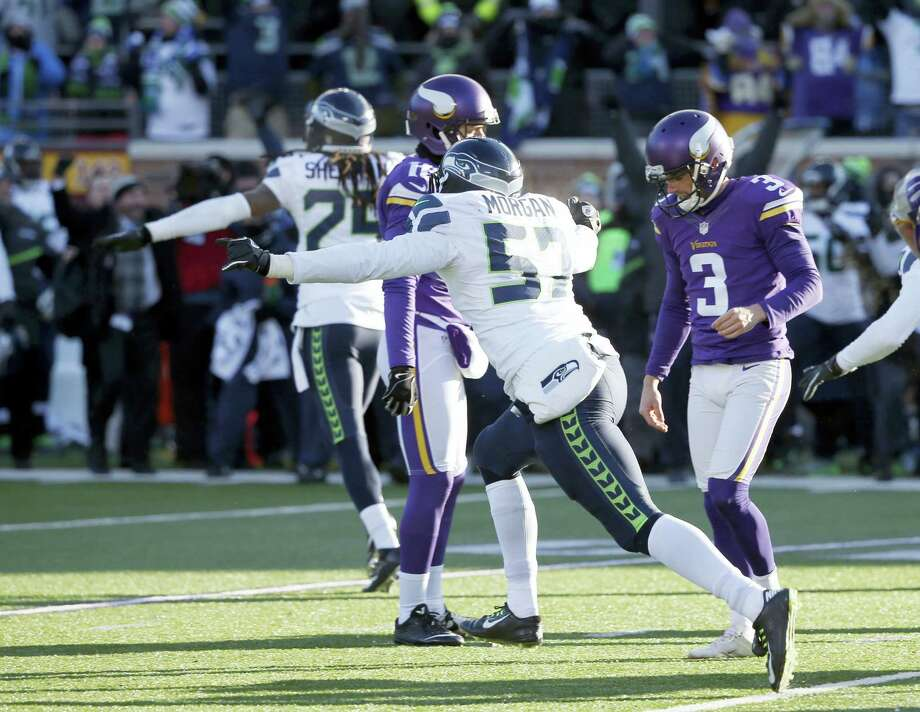 Vikings kicker Blair Walsh (3) reacts after missing a field goal against the Seahawks on Sunday. Photo: Jim Mone — The Associated Press  / AP