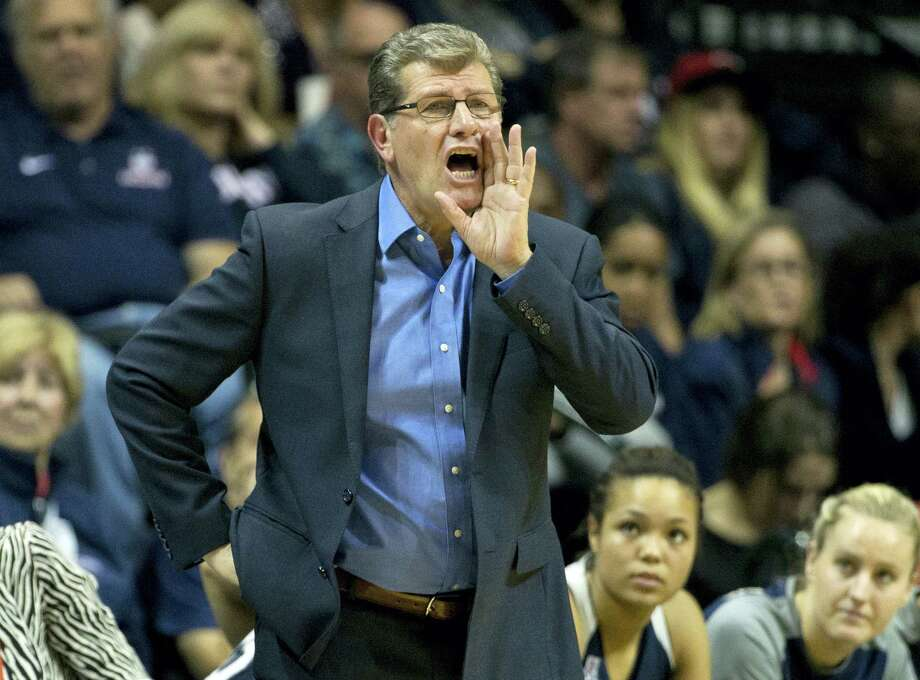 UConn coach Geno Auriemma during the first half against South Florida on Sunday. Photo: Chris O'Meara — The Associated Press  / AP