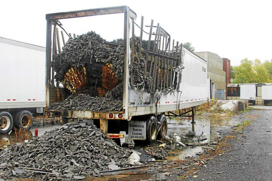 Several box trailers were damaged by a fire Thursday near Summer Street in Torrington in October. Authorities suspect the fire was arson. Photo: Register Citizen File Photo