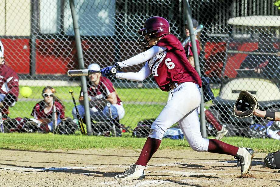 Torrington's Carissa Carbone was 3-for-4 in a wind-swept day in which the Indians gave up more errors than hits. Photo: Photo By Marianne Killackey  / 2015